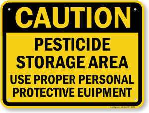 caution pesticide storage area sign s 8768